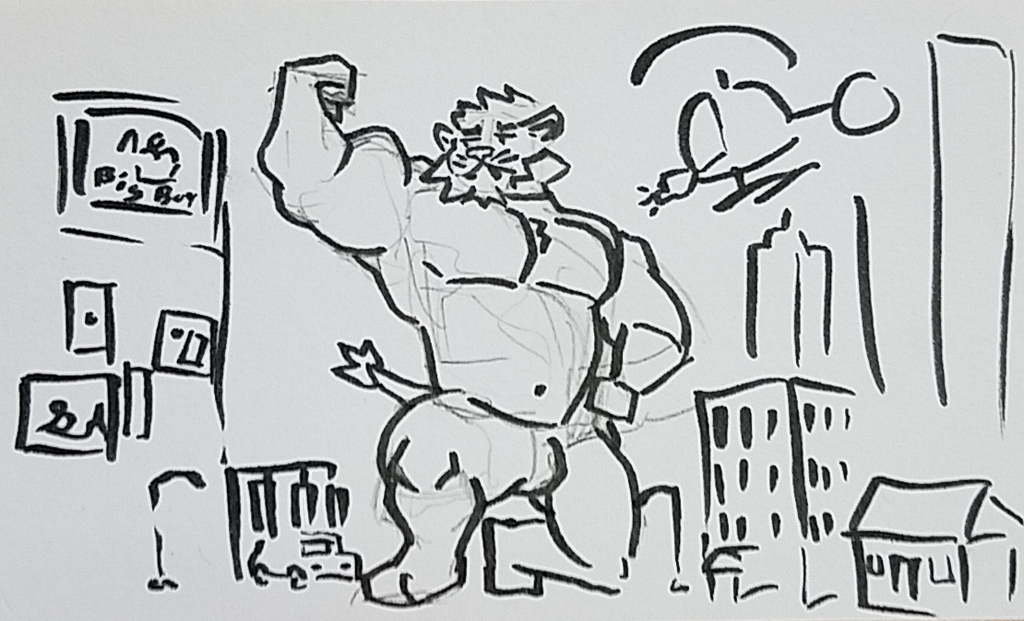 Big lion in the city