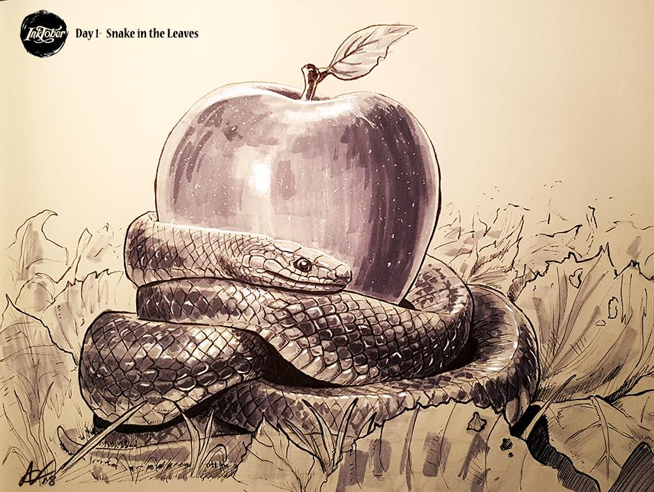 INKTOBER Day 1- Snake in the Leaves