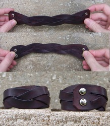 Leather Projects - Mystery Braid Wristband - Finished