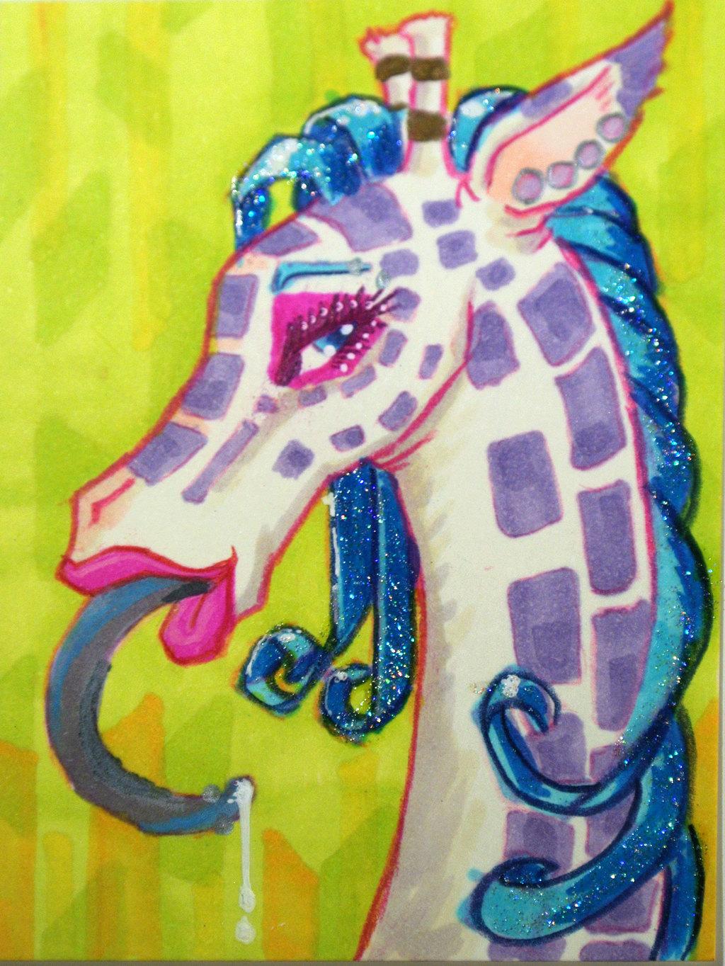 Glittery Giraffe ATC