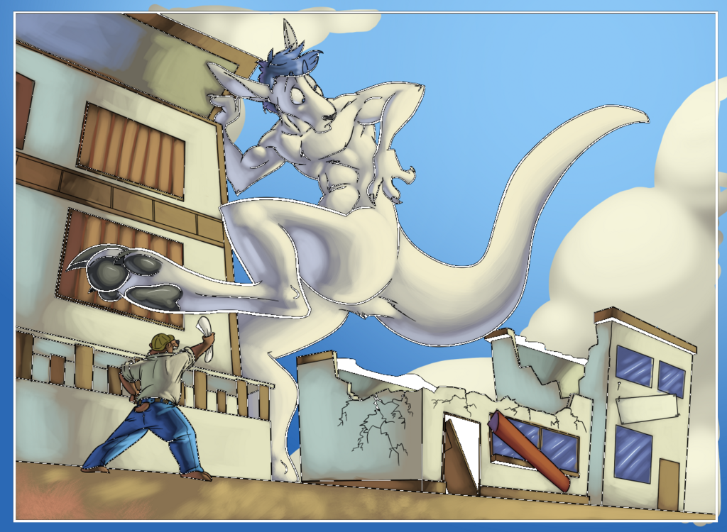 Giant Roo Construction Worker -- By Amonomega