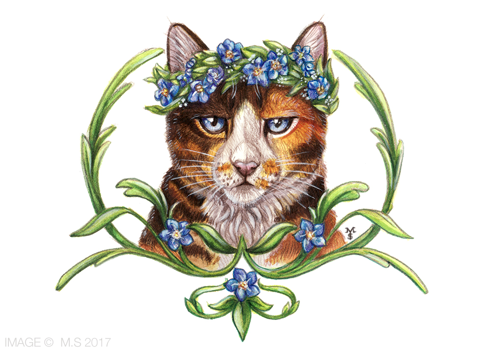 Floral Feline (Original for sale, free shipping)