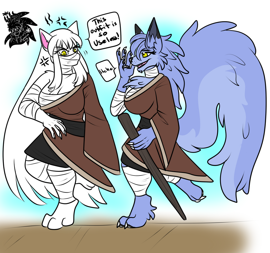 Most recent image: Hokuro and Blu +Flatcolored Commission+