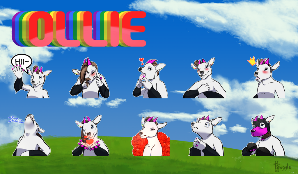 Ollie reference sheet 10 telegram sticker expressions