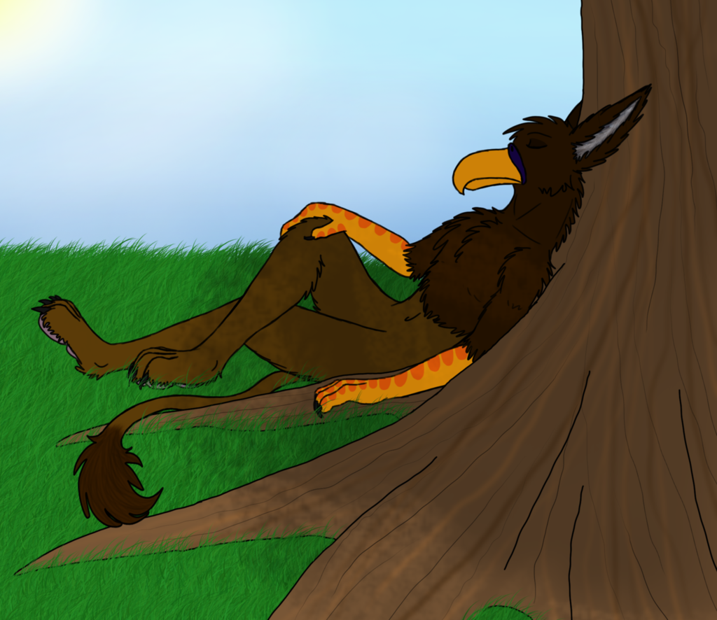 Resting under the big tree