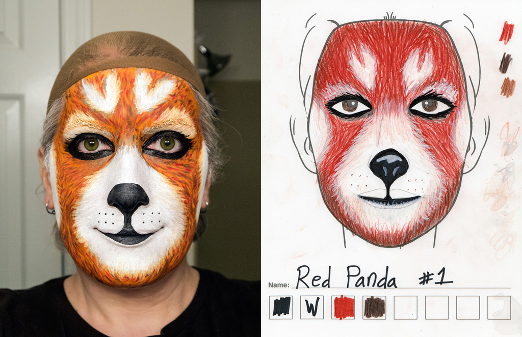 Red Panda makeup 1st try vs sketch