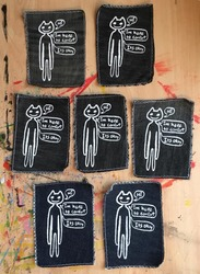 Comfort Cat Screen Printed Patches