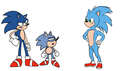 Sonic and Sonic meet Movie Sonic