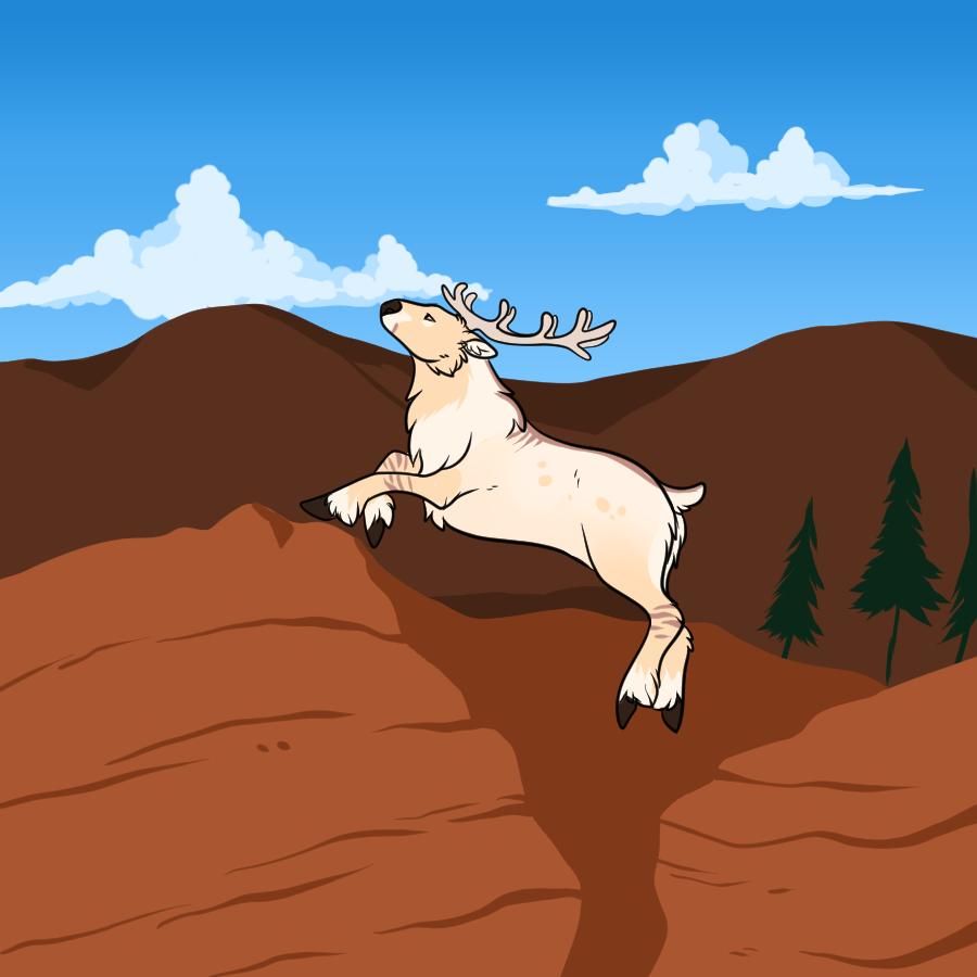Long Leap against Red Rocks