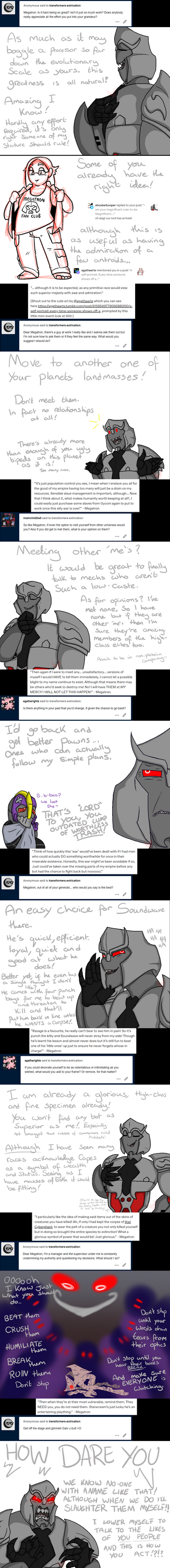 Extriverse Megatron (unfortunately) answers asks