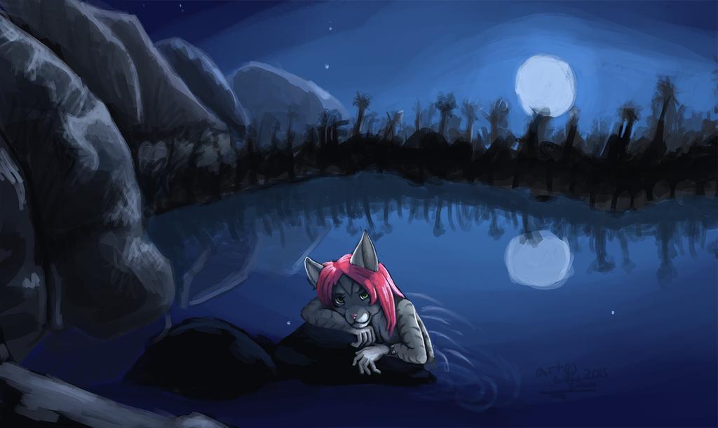 -speedpaint- A relaxing lakeside night