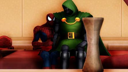 daddy Doctor Doom and big baby spiderman