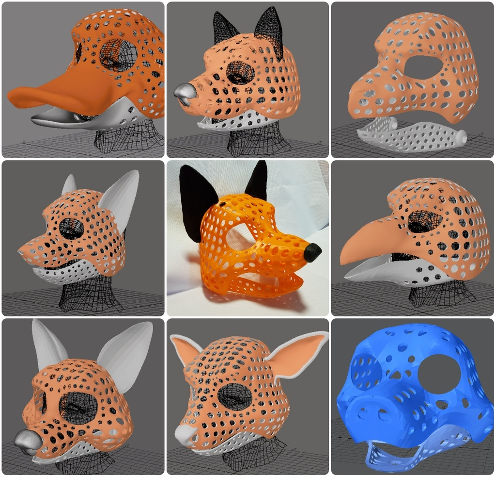 3d-models for fursuit or puppet head bases