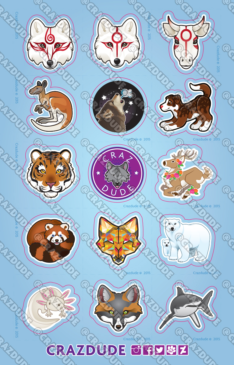 Crazdude Animal Sticker Sheet 2015