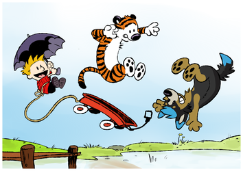 calvin and hobbes and skyan.
