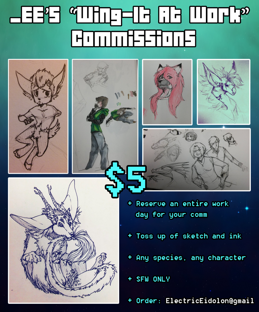 $5 'Wing-It At Work' Commissions [OPEN]