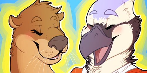 [commission] Icon Set - Otter & Blue Jay