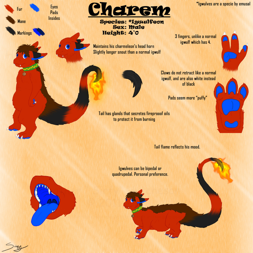Charem the Igwulfeon: Ref Sheet (Clean) -by Sirfy