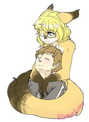 In his arms