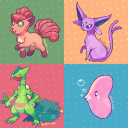 Emerald Pokes: Vulpix, Espeon, Sceptile, Luvdisc
