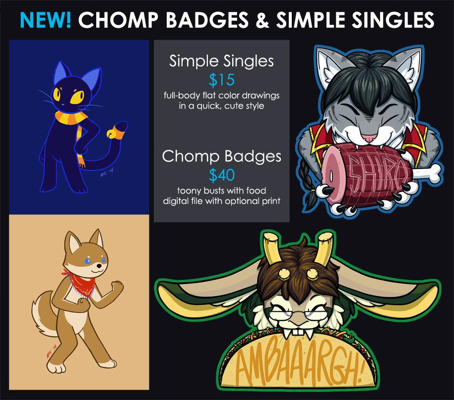 NEW! Chomp Badges & Simple Singles!