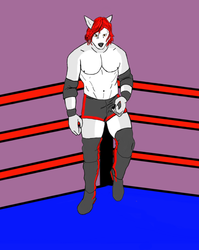 Cyrus Grey in the ring (digitized sketch for Pawmageddon)