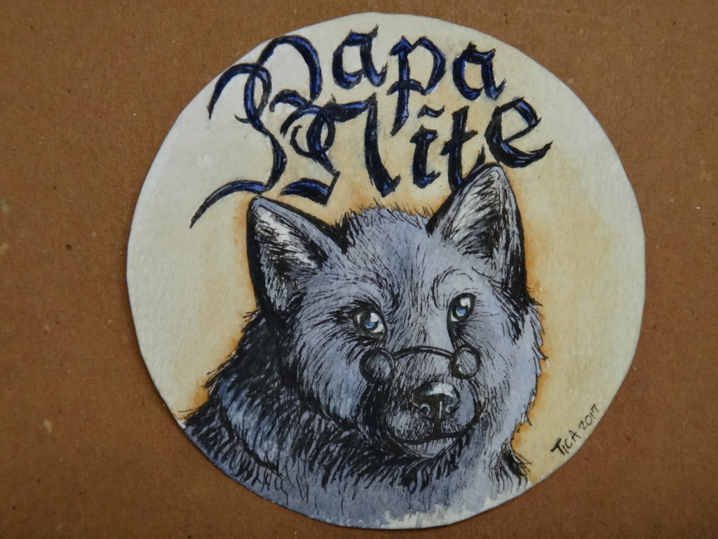 WN Commission: watercolor badge for Papa Nite