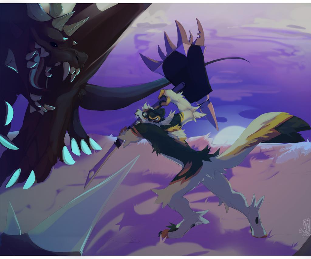 A battle under moonlight