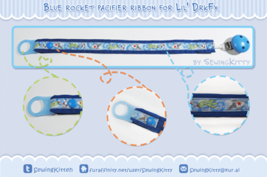 Blue Rocket Pacifier Ribbon for lil' DrkFx