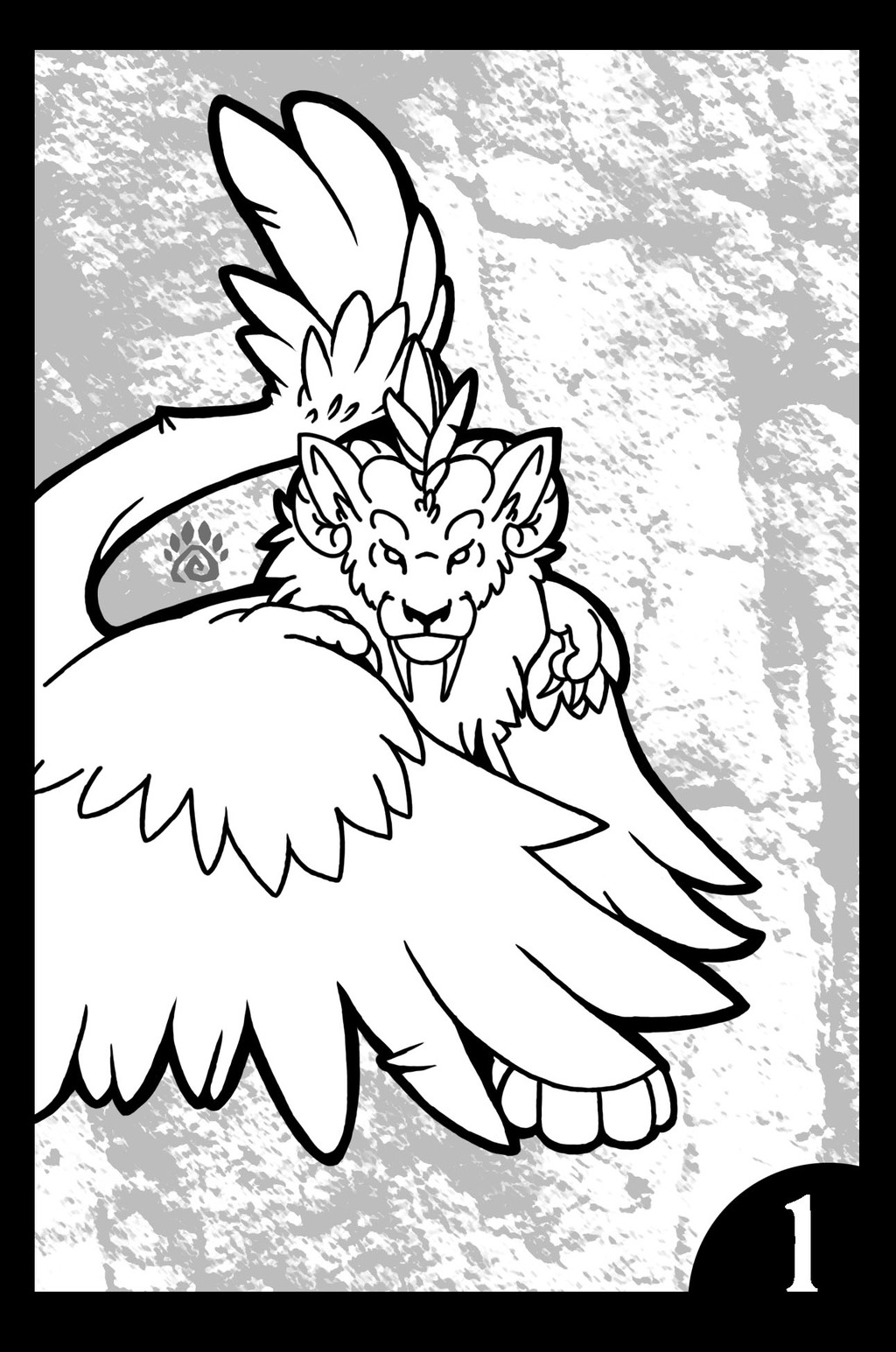 Winged Feline Coloring Book: Page 1