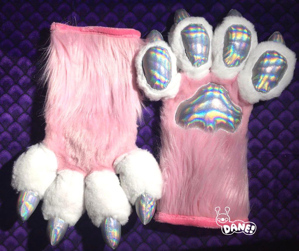 (FOR SALE) Pink Holographic Handpaws