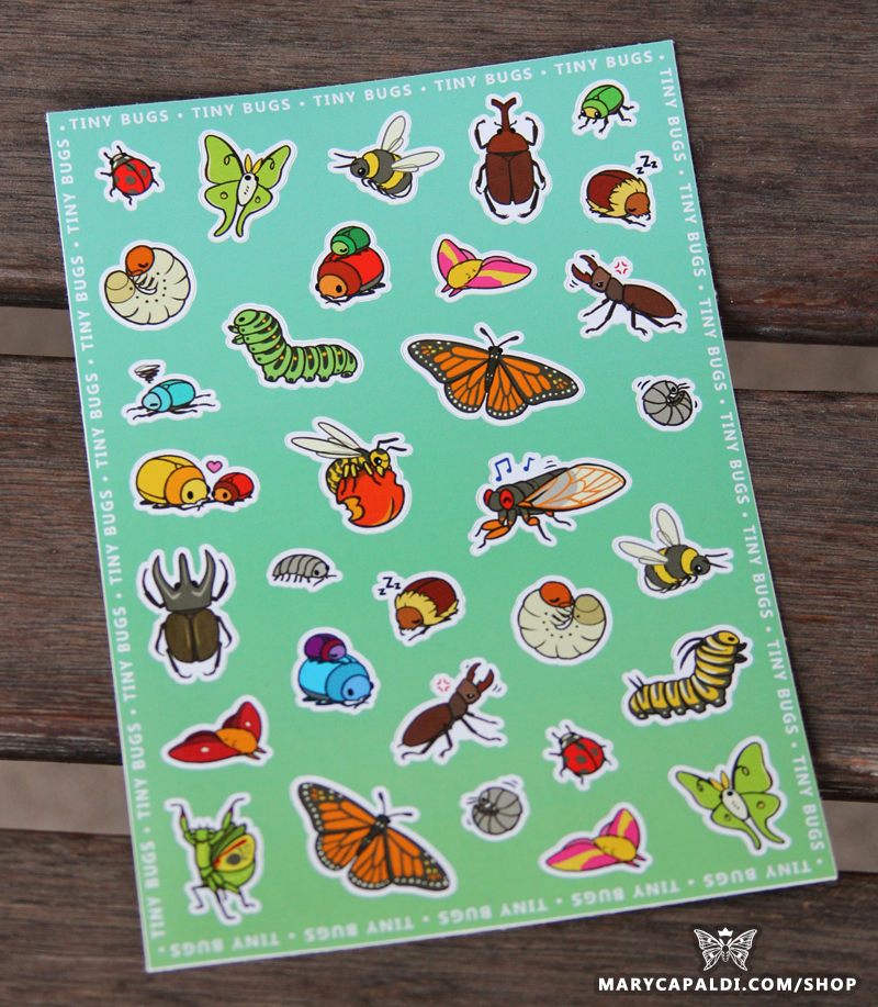 Tiny Bugs Sticker Sheets are here!