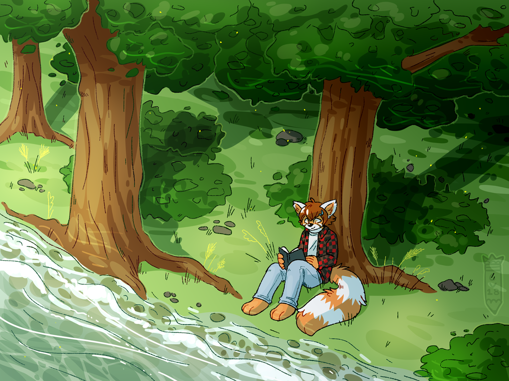Most recent image: Reading in the forest - comm