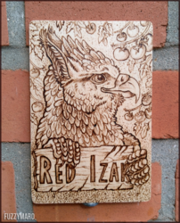 Wooden badge for Red Izak (pyrography)