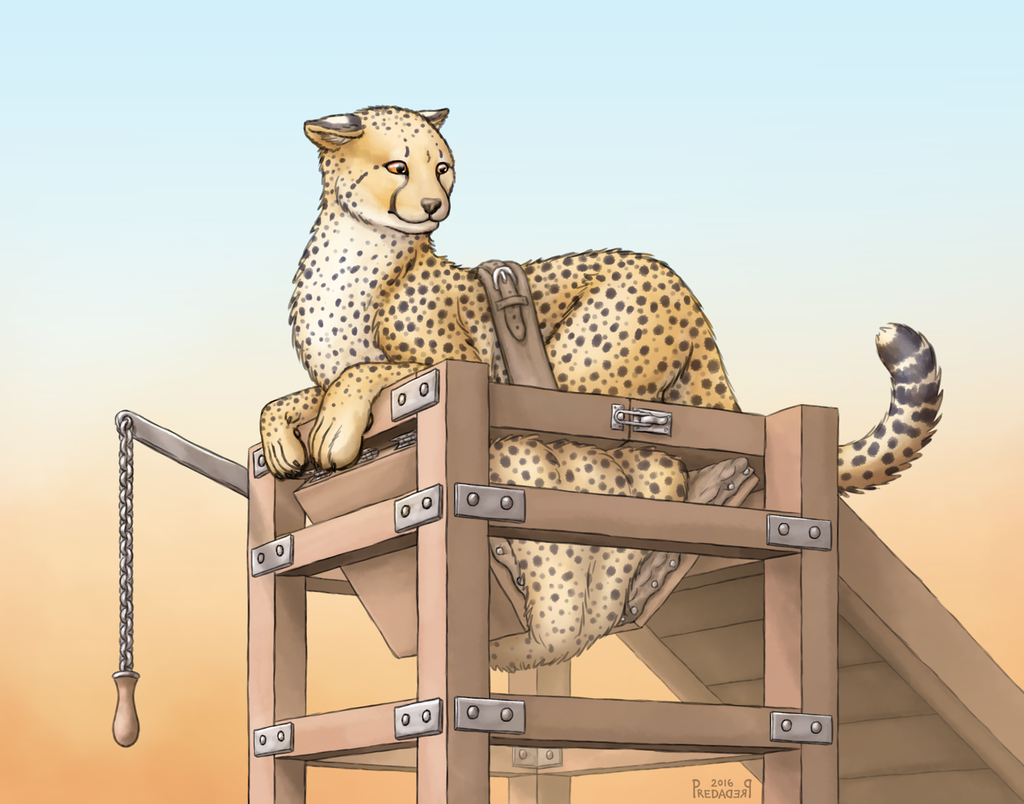 Portable shower cheetah - art by Predaderp