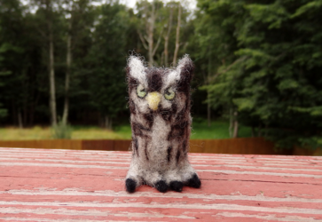 Needle Felted Eastern Screech Owl Soft Sculpture