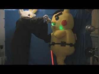 "Mascot Fursuiting: Ace Spade the Pikachu vs Jedi Scorbunny 2, ""Saber-Swallow"""