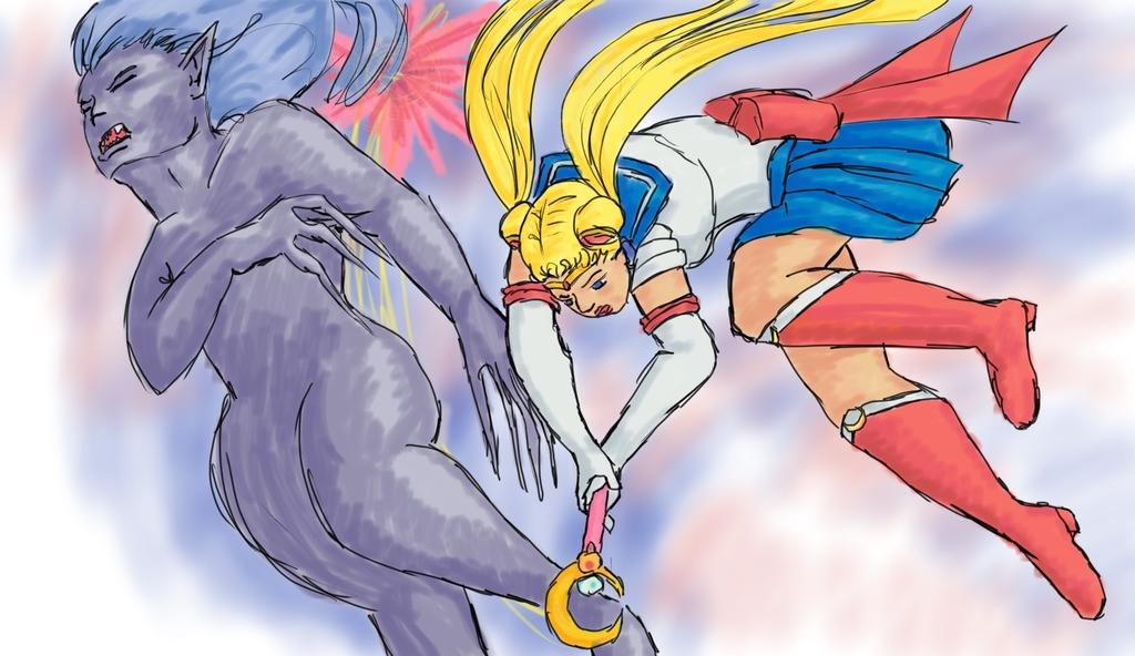 Sailor Moon Whackin' A Monster
