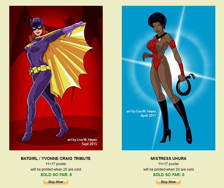 Most recent image: Batgirl and Uhura mini-posters! By Lisa!