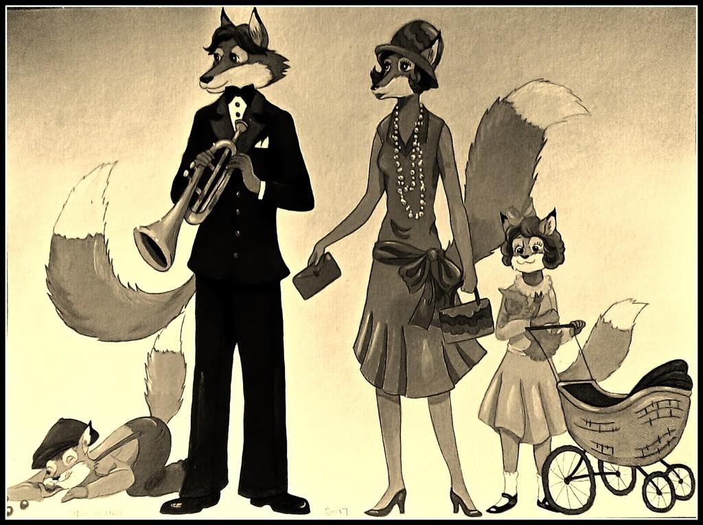 1920's Fox Family-Sepia Color