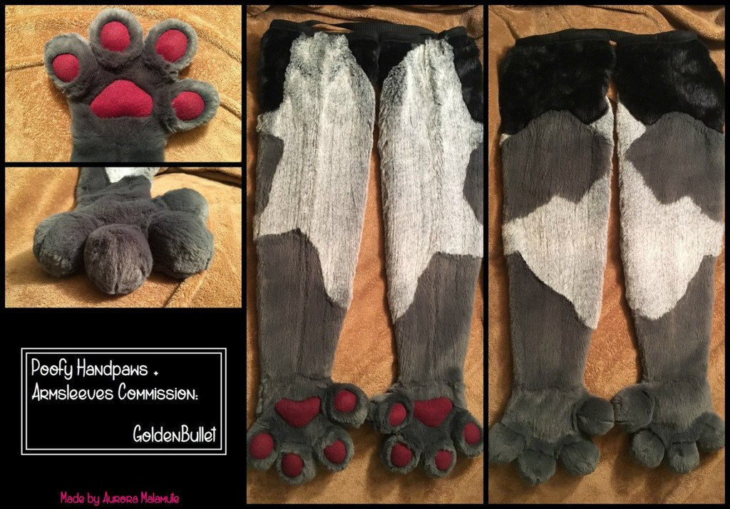 Poofy Handpaws + Armsleeves Commission - GoldenBullet