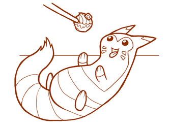 Fat Furret fights for Food