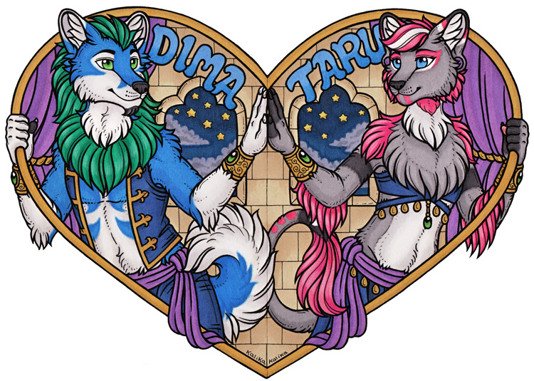 Taru and Dima Heart Conbadge Set