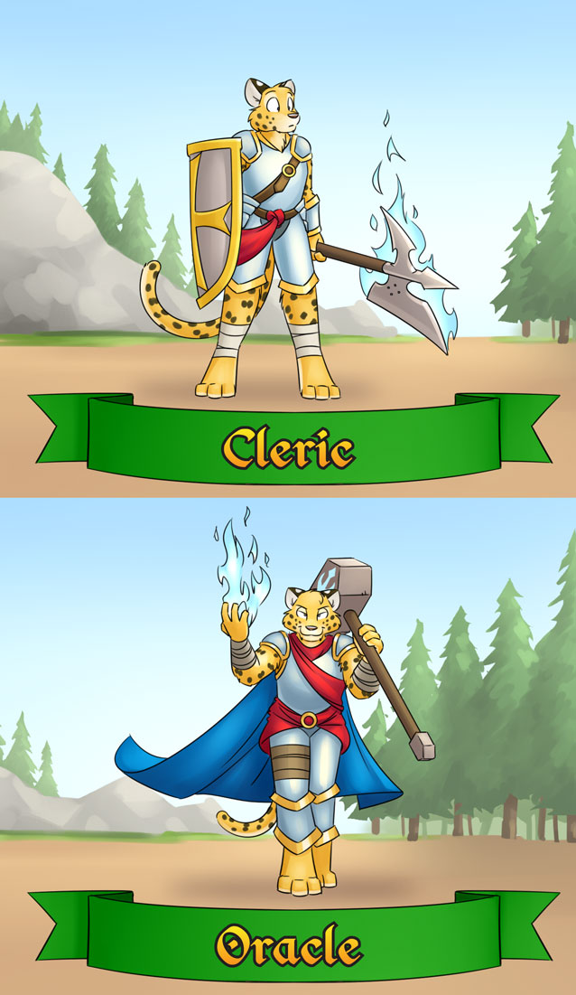 RainFurrest class badges - cleric / oracle