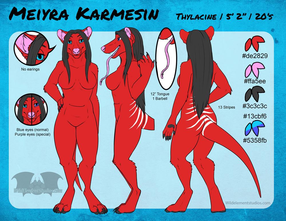 SFW Ref Sheet - Meiyra (Thylacine)