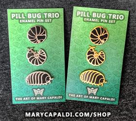 Pill Bug Trio Enamel Pin Set