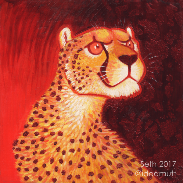 Most recent image: Determined Cheetah on Red
