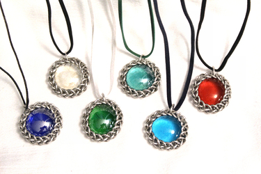 Chainmaille-Wrapped Glass Pendants - Silver