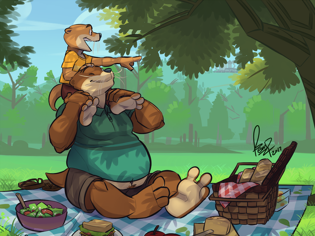 Picnicking Otters