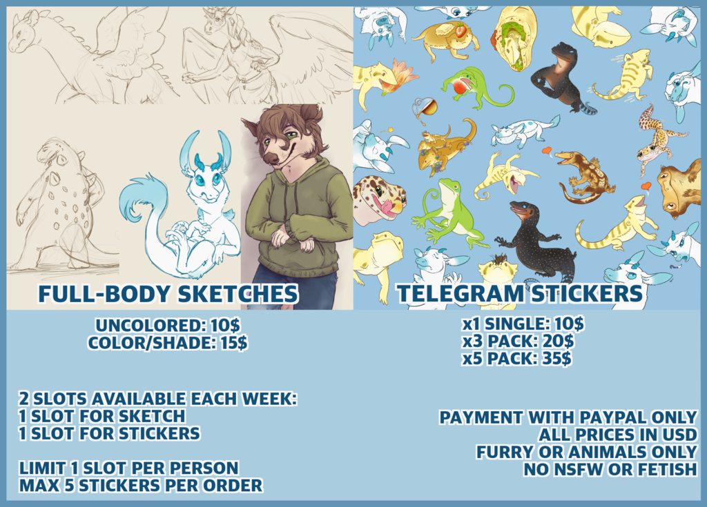 Most recent image: Commission Sheet - Sketches and Telegram Stickers